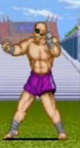 Sagat de Street Fighter I, combatiendo